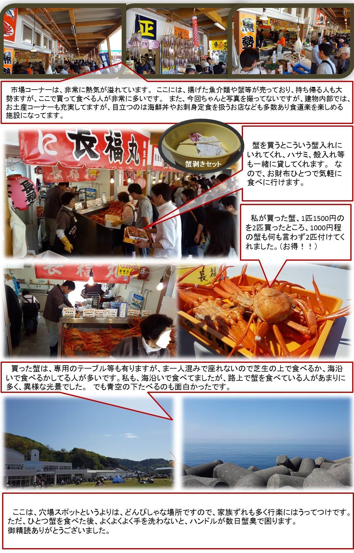 市場コーナーは、非常に熱気が溢れています。 ここには、揚げた魚介類や蟹等が売っており、持ち帰る人も大勢ますが、ここで買って食べる人が非常に多いです。 また、今回ちゃんと写真を撮ってないですが、建物内部では、お土産コーナーも充実してますが、目立つのは海鮮丼やお刺身定食を扱うお店なども多数あり食道楽を楽しめる施設になってます。  蟹を買うとこういう蟹入れにいれてくれ、ハサミ、殻入れ等も一緒に貸してくれます。 なので、お財布ひとつで気軽に食べに行けます。 私が買った蟹、1匹1500円のを2匹買ったところ、1000円程の蟹も何も言わず2匹付けてくれました。(お得!!) 買った蟹は、専用のテーブル等も有りますが、まー人混みで座れないので芝生の上で食べるか、海沿いで食べるかしてる人が多いです。私も、海沿いで食べてましたが、路上で蟹を食べている人があまりに多く、異様な光景でした。 でも青空の下たべるのも面白かったです。  ここは、穴場スポットというよりは、どんぴしゃな場所ですので、家族ずれも多く行楽にはうってつけです。ただ、ひとつ蟹を食べた後、よくよくよく手を洗わないと、ハンドルが数日蟹臭で困ります。御精読ありがとうございました。