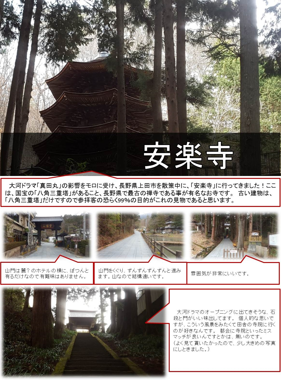 大河ドラマ「真田丸」の影響をモロに受け、長野県上田市を散策中に、「安楽寺」に行ってきました!ここは、国宝の「八角三重塔」があること、長野県で最古の禅寺である事が有名なお寺です。 古い建物は、「八角三重塔」だけですので参拝客の恐らく99%の目的がこれの見物であると思います。山門は麓?のホテルの横に、ぽつんと有るだけなので有難味はありません。 山門をくぐり、ずんずんずんずんと進みます。山なので結構遠いです。雰囲気が非常にいいです。 大河ドラマのオープニングに出てきそうな、石段と門がいい味出してます。 個人的な思いですが、こういう風景をみたくて田舎の寺院に行くのが好きなんです。 都会に寺院といったミスマッチが良いんですとかは、無いのです。 (よく見て貰いたかったので、少し大きめの写真にしときました。)