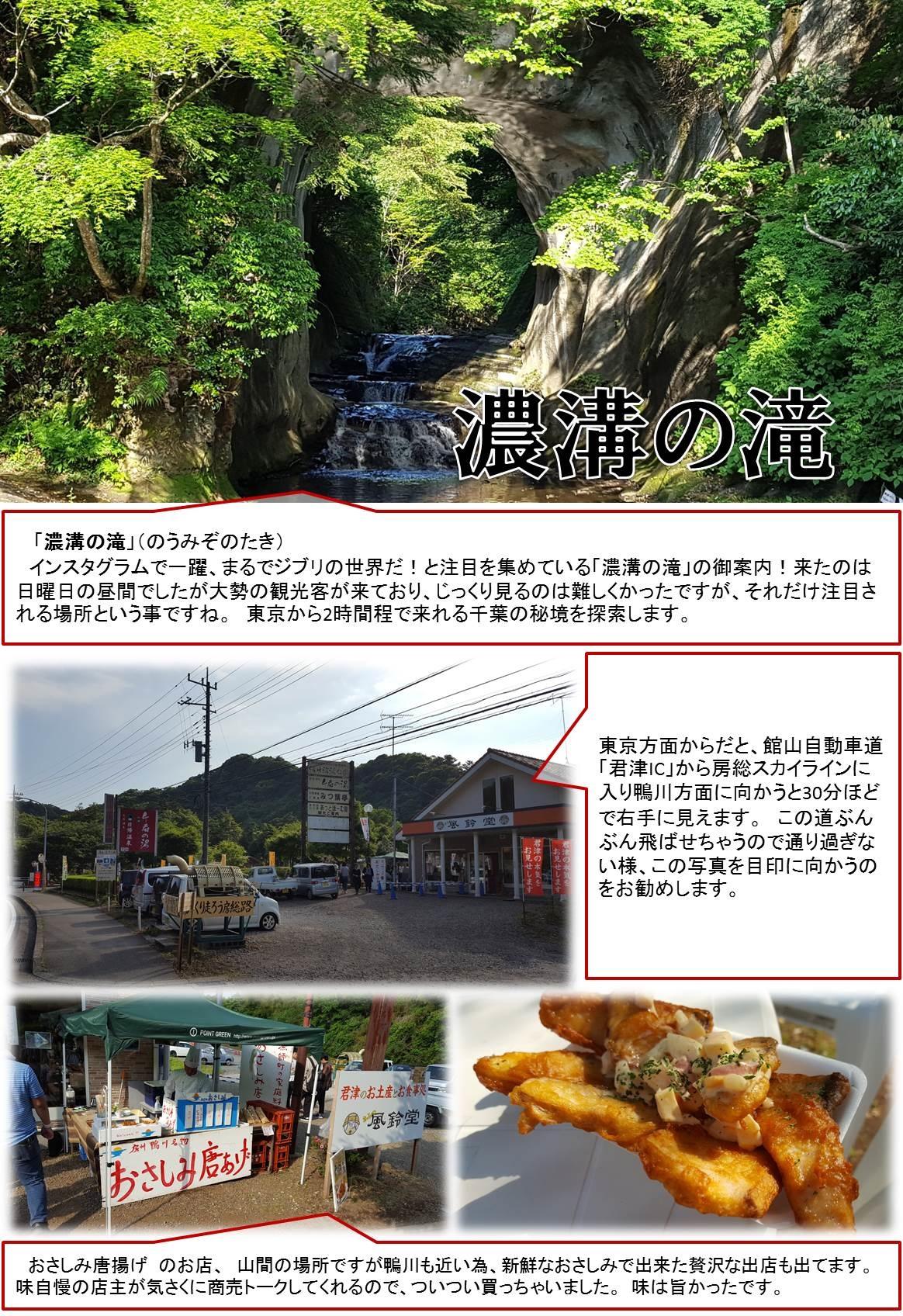 「濃溝の滝」(のうみぞのたき)   インスタグラムで一躍、まるでジブリの世界だ!と注目を集めている「濃溝の滝」の御案内!来たのは日曜日の昼間でしたが大勢の観光客が来ており、じっくり見るのは難しくかったですが、それだけ注目される場所という事ですね。 東京から2時間程で来れる千葉の秘境を探索します。 東京方面からだと、館山自動車道「君津IC」から房総スカイラインに入り鴨川方面に向かうと30分ほどで右手に見えます。 この道ぶんぶん飛ばせちゃうので通り過ぎない様、この写真を目印に向かうのをお勧めします。 おさしみ唐揚げ のお店、 山間の場所ですが鴨川も近い為、新鮮なおさしみで出来た贅沢な出店も出てます。  味自慢の店主が気さくに商売トークしてくれるので、ついつい買っちゃいました。 味は旨かったです。