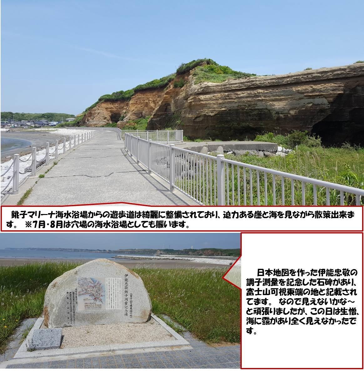 銚子マリーナ海水浴場からの遊歩道は綺麗に整備されており、迫力ある崖と海を見ながら散策出来ます。 ※7月・8月は穴場の海水浴場としても賑います。 日本地図を作った伊能忠敬の調子測量を記念した石碑があり、富士山可視東端の地と記載されてます。 なので見えないかな~と頑張りましたが、この日は生憎、海に靄があり全く見えなかったです。