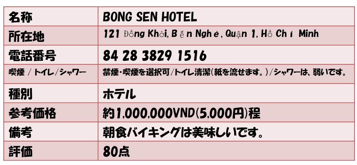 名称        BONG SEN HOTEL 所在地   121 Đồng Khởi, Bến Nghé, Quận 1, Hồ Chí Minh 電話番号             84 28 3829 1516 喫煙 / トイレ/シャワー      禁煙・喫煙を選択可/トイレ清潔(紙を流せます。)/シャワーは、弱いです。 種別      ホテル 参考価格     約1,000,000VND(5,000円)程 備考           朝食バイキングは美味しいです。 評価    80点