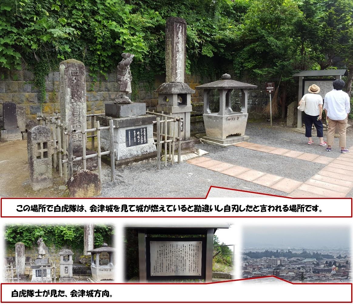 この場所で白虎隊は、会津城を見て城が燃えていると勘違いし自刃したと言われる場所です。 白虎隊士が見た、会津城方向。