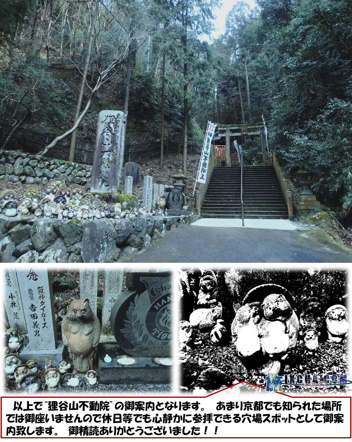 """参拝後、山を下ります。 京都の寺社仏閣の殆どはは4時ごろには閉館しちゃいますので、寺巡りは非常に慌ただしくなります。 境内の山肌には、目を凝らすと大小さまざまな仏像や神様の像がある事が分かります。 悪く言えばごった煮の様な感じですが、八百万の精神を持つ大和の国ならではの光景だと思います。  以上で""""狸谷山不動院""""の御案内となります。 あまり京都でも知られた場所では御座いませんので休日等でも心静かに参拝できる穴場スポットとして御案内致します。 御精読ありがとうございました!!"""