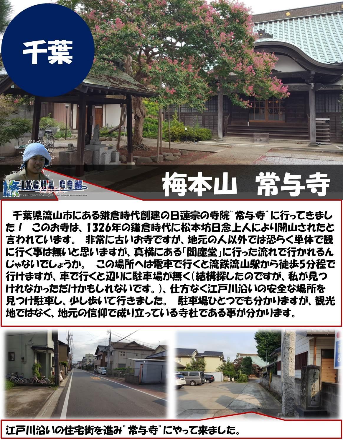 """千葉 梅本山 常与寺  千葉県流山市にある鎌倉時代創建の日蓮宗の寺院""""常与寺""""に行ってきました! このお寺は、1326年の鎌倉時代に松本坊日念上人により開山されたと言われています。 非常に古いお寺ですが、地元の人以外では恐らく単体で観に行く事は無いと思いますが、真横にある「閻魔堂」に行った流れで行かれるんじゃないでしょうか。 この場所へは電車で行くと流鉄流山駅から徒歩5分程で行けますが、車で行くと辺りに駐車場が無く(結構探したのですが、私が見つけれなかっただけかもしれないです。)、仕方なく江戸川沿いの安全な場所を見つけ駐車し、少し歩いて行きました。 駐車場ひとつでも分かりますが、観光地ではなく、地元の信仰で成り立っている寺社である事が分かります。 江戸川沿いの住宅街を進み""""常与寺""""にやって来ました。"""