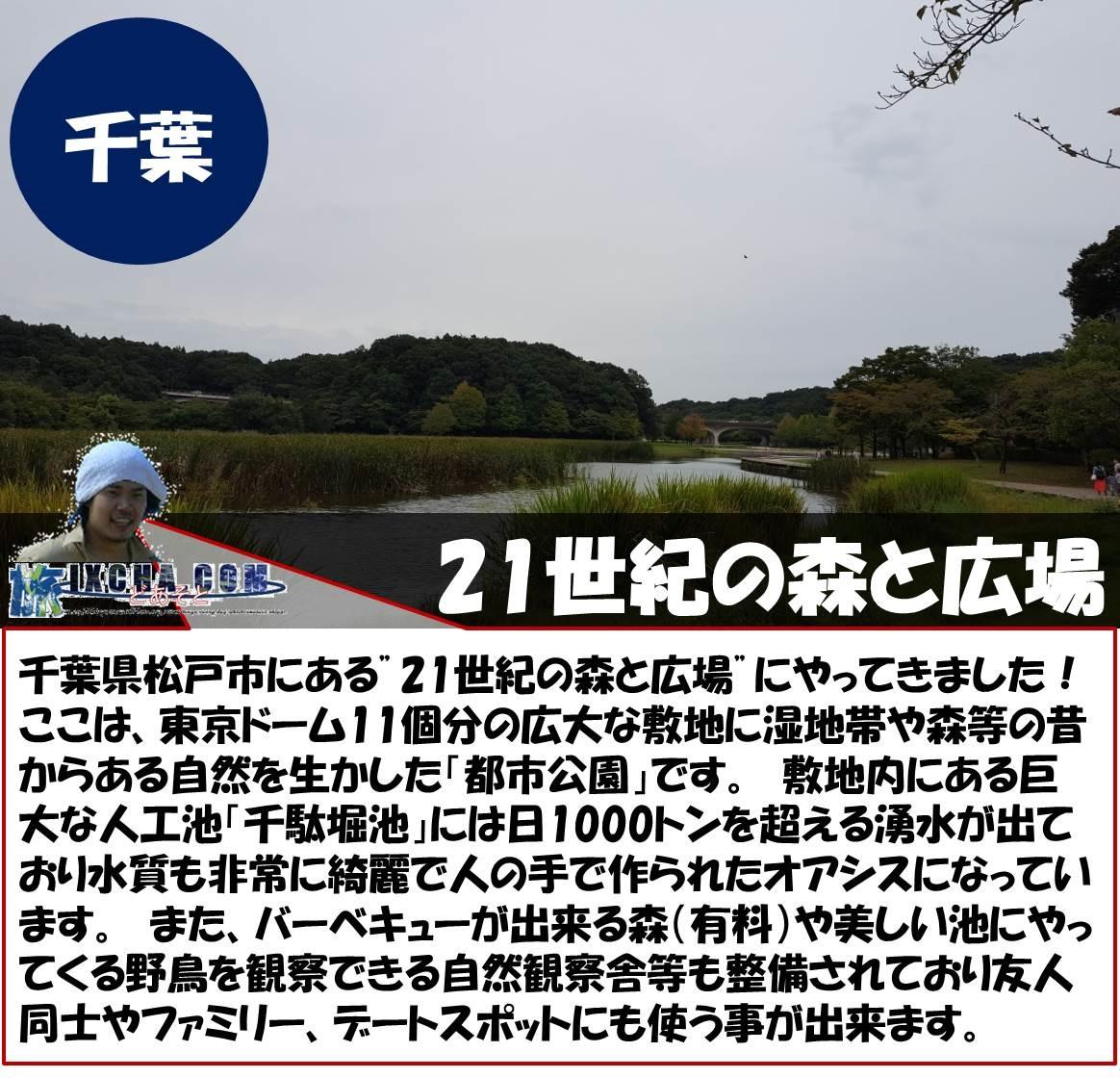 """千葉 21世紀の森と広場 千葉県松戸市にある""""21世紀の森と広場""""にやってきました! ここは、東京ドーム11個分の広大な敷地に湿地帯や森等の昔からある自然を生かした「都市公園」です。 敷地内にある巨大な人工池「千駄堀池」には日1000トンを超える湧水が出ており水質も非常に綺麗で人の手で作られたオアシスになっています。 また、バーベキューが出来る森(有料)や美しい池にやってくる野鳥を観察できる自然観察舎等も整備されており友人同士やファミリー、デートスポットにも使う事が出来ます。"""