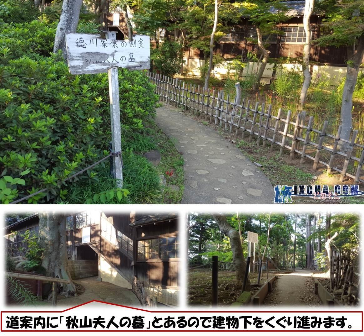 道案内に「秋山夫人の墓」とあるので建物下をくぐり進みます。