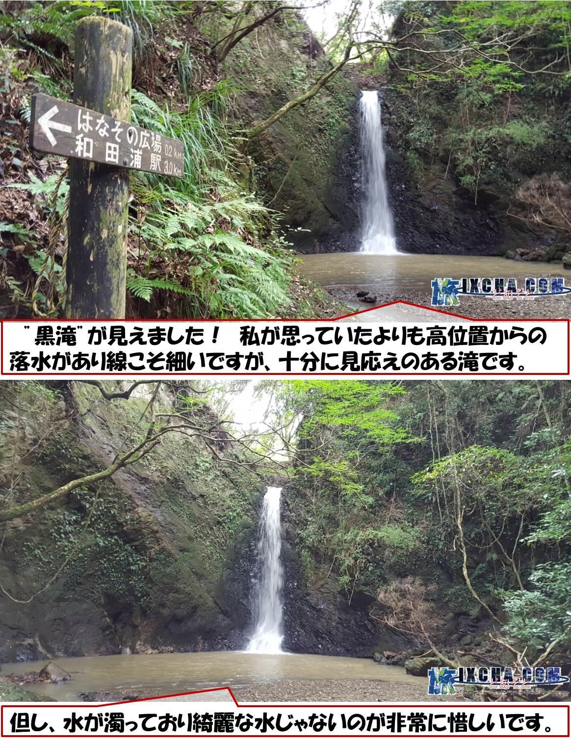 """""""黒滝""""が見えました! 私が思っていたよりも高位置からの落水があり線こそ細いですが、十分に見応えのある滝です。 但し、水が濁っており綺麗な水じゃないのが非常に惜しいです。"""