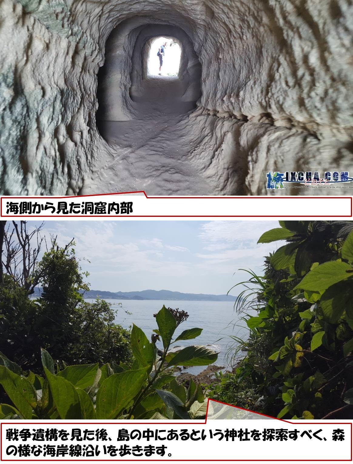 海側から見た洞窟内部 戦争遺構を見た後、島の中にあるという神社を探索すべく、森の様な海岸線沿いを歩きます。