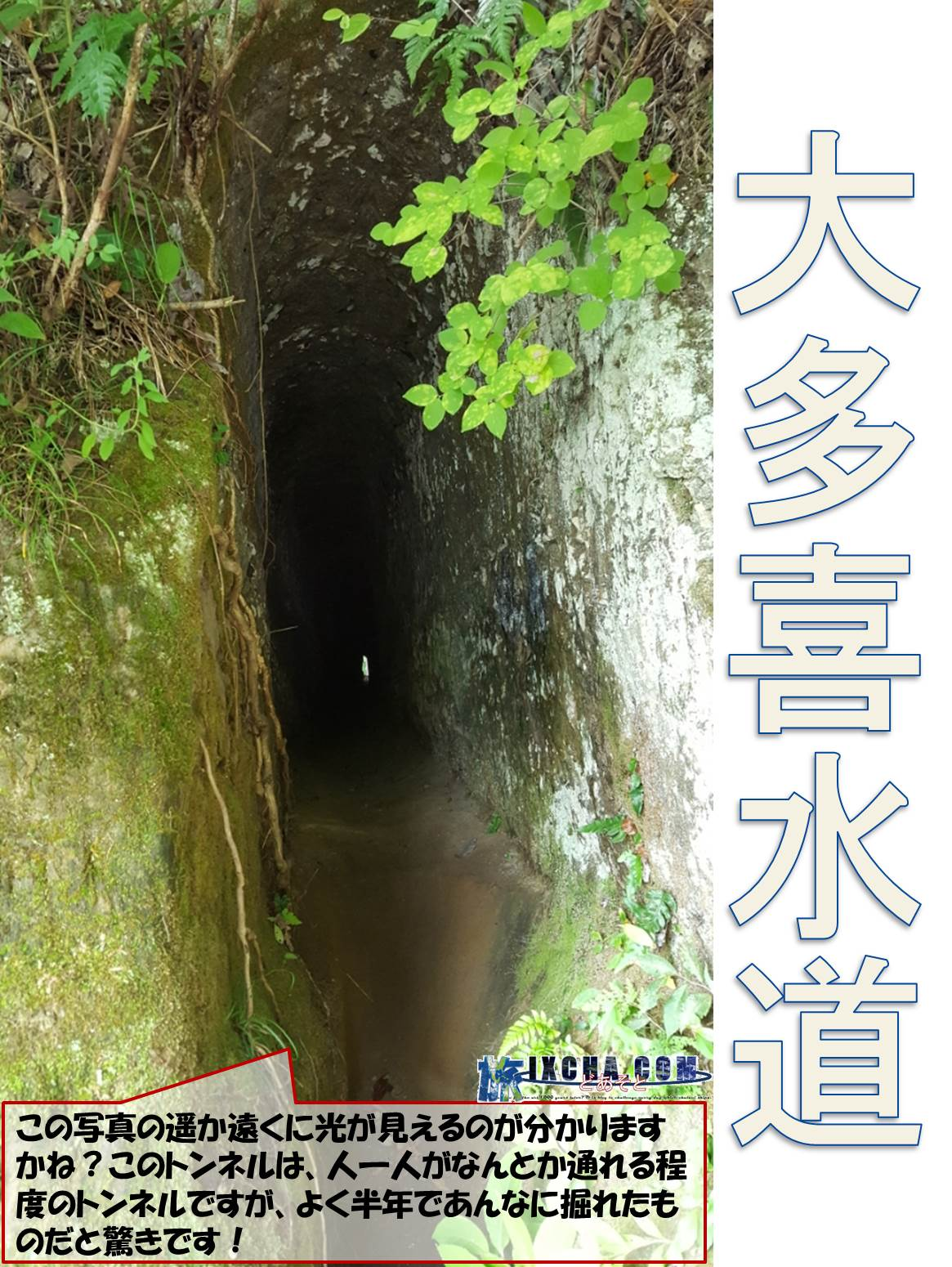 大多喜水道 この写真の遥か遠くに光が見えるのが分かりますかね?このトンネルは、人一人がなんとか通れる程度のトンネルですが、よく半年であんなに掘れたものだと驚きです!