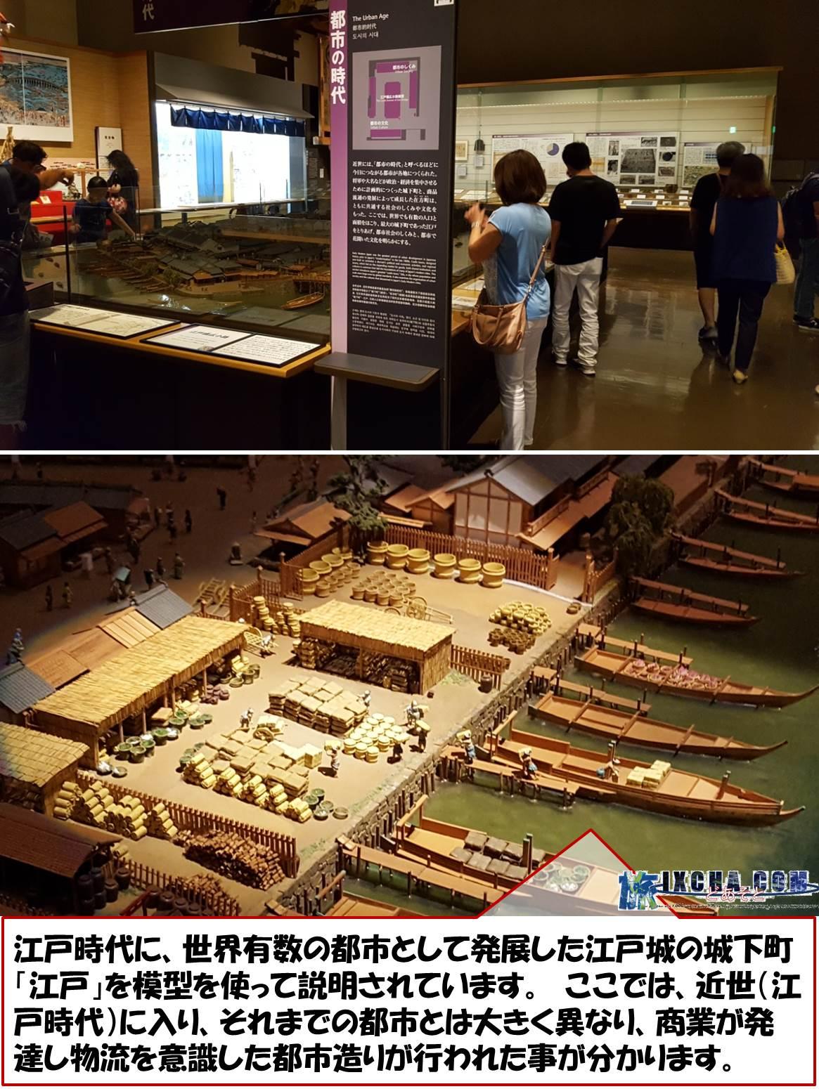 江戸時代に、世界有数の都市として発展した江戸城の城下町「江戸」を模型を使って説明されています。 ここでは、近世(江戸時代)に入り、それまでの都市とは大きく異なり、商業が発達し物流を意識した都市造りが行われた事が分かります。