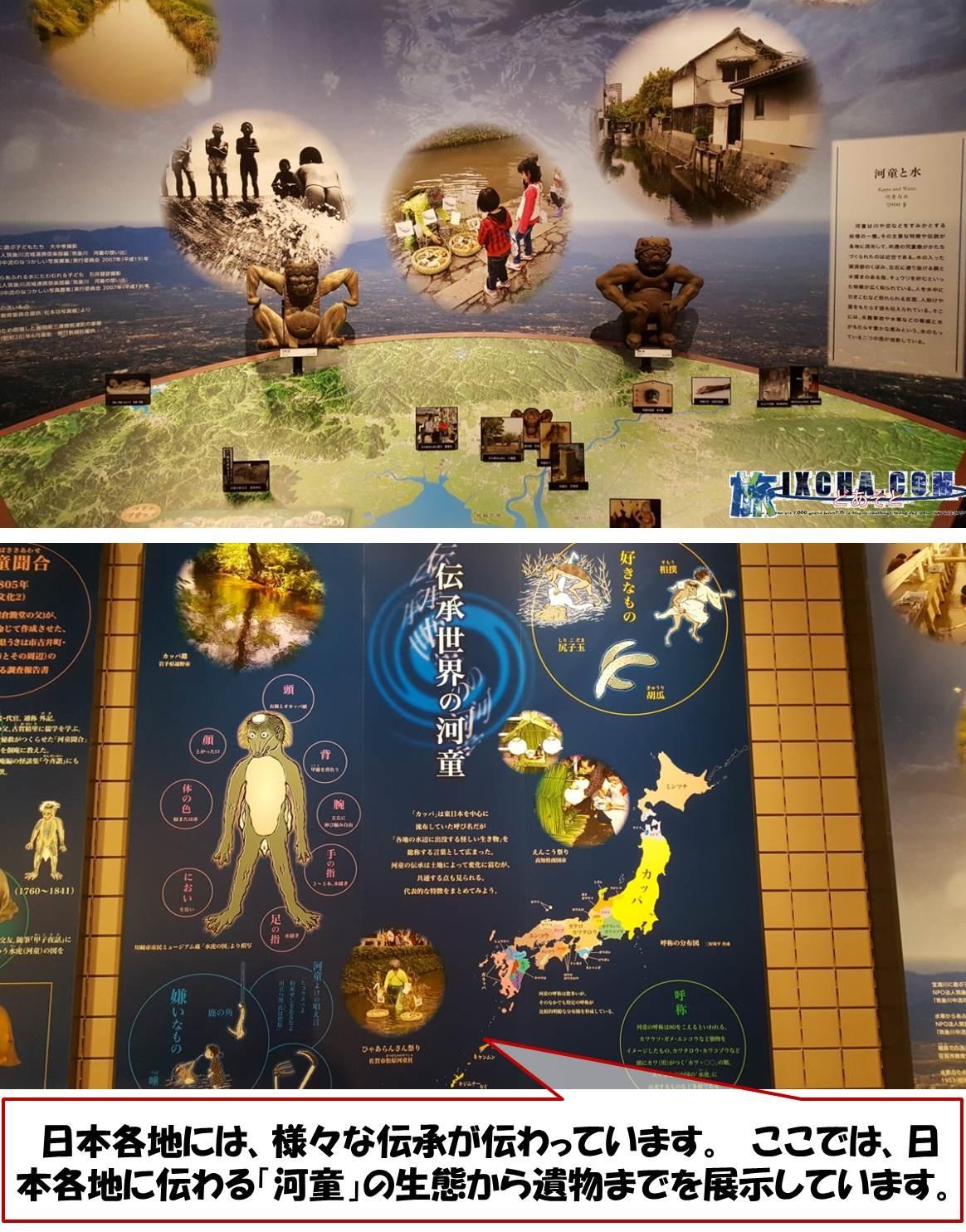 日本各地には、様々な伝承が伝わっています。 ここでは、日本各地に伝わる「河童」の生態から遺物までを展示しています。