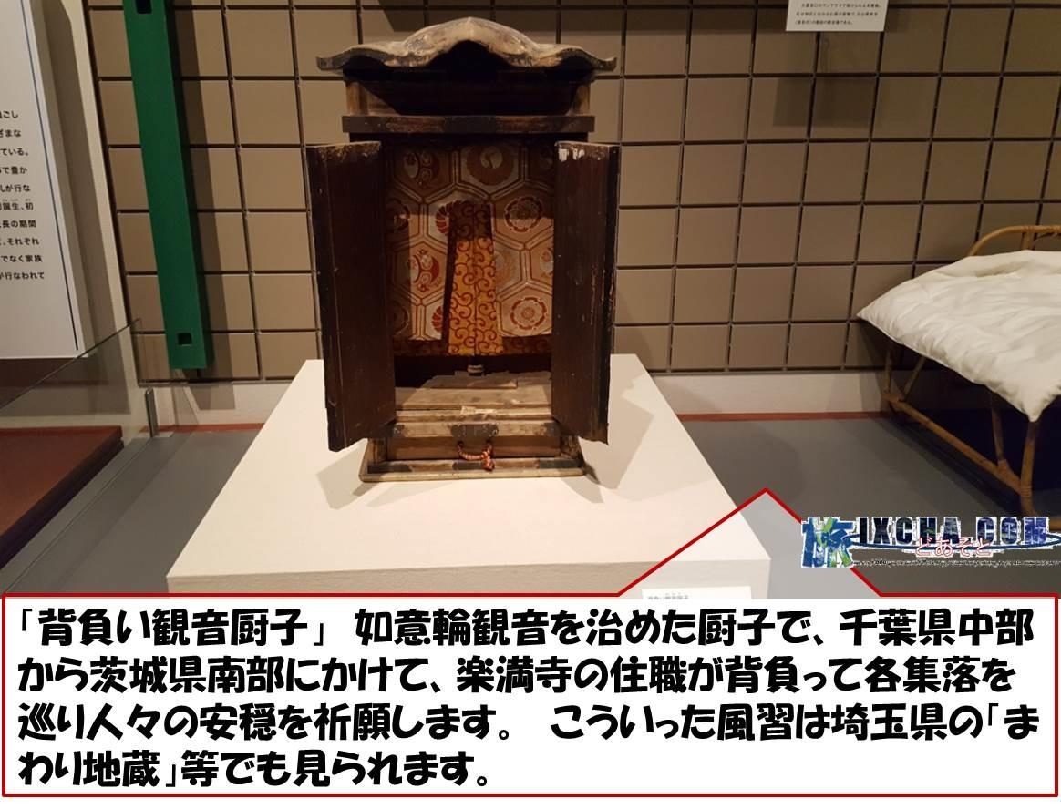「背負い観音厨子」 如意輪観音を治めた厨子で、千葉県中部から茨城県南部にかけて、楽満寺の住職が背負って各集落を巡り人々の安穏を祈願します。 こういった風習は埼玉県の「まわり地蔵」等でも見られます。