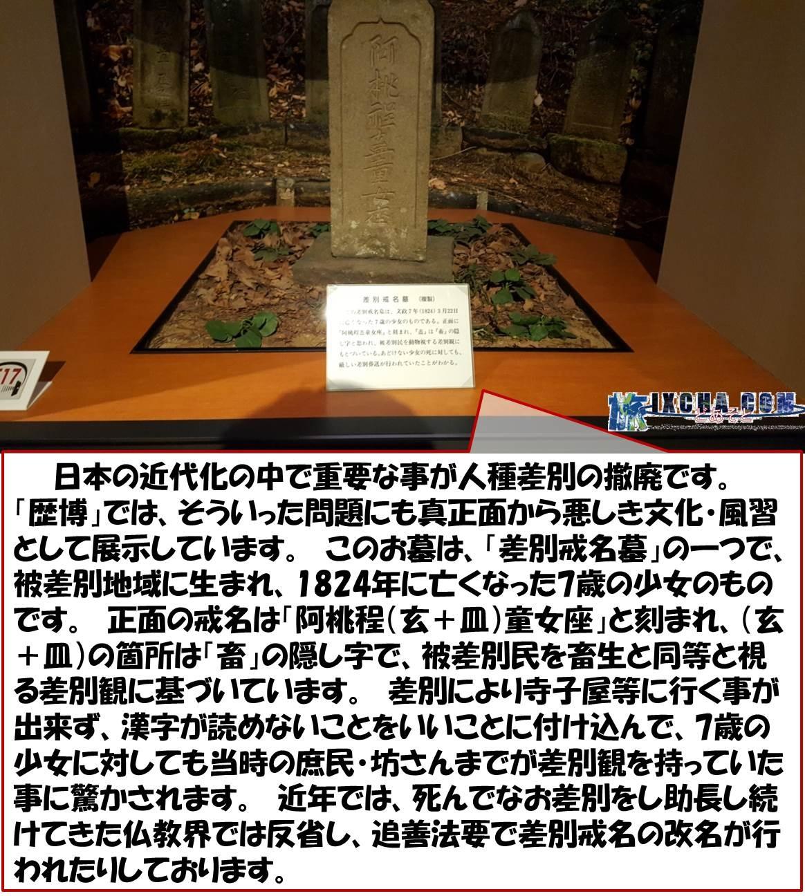 日本の近代化の中で重要な事が人種差別の撤廃です。 「歴博」では、そういった問題にも真正面から悪しき文化・風習として展示しています。 このお墓は、「差別戒名墓」の一つで、被差別地域に生まれ、1824年に亡くなった7歳の少女のものです。 正面の戒名は「阿桃程(玄+皿)童女座」と刻まれ、(玄+皿)の箇所は「畜」の隠し字で、被差別民を畜生と同等と視る差別観に基づいています。 差別により寺子屋等に行く事が出来ず、漢字が読めないことをいいことに付け込んで、7歳の少女に対しても当時の庶民・坊さんまでが差別観を持っていた事に驚かされます。 近年では、死んでなお差別をし助長し続けてきた仏教界では反省し、追善法要で差別戒名の改名が行われたりしております。