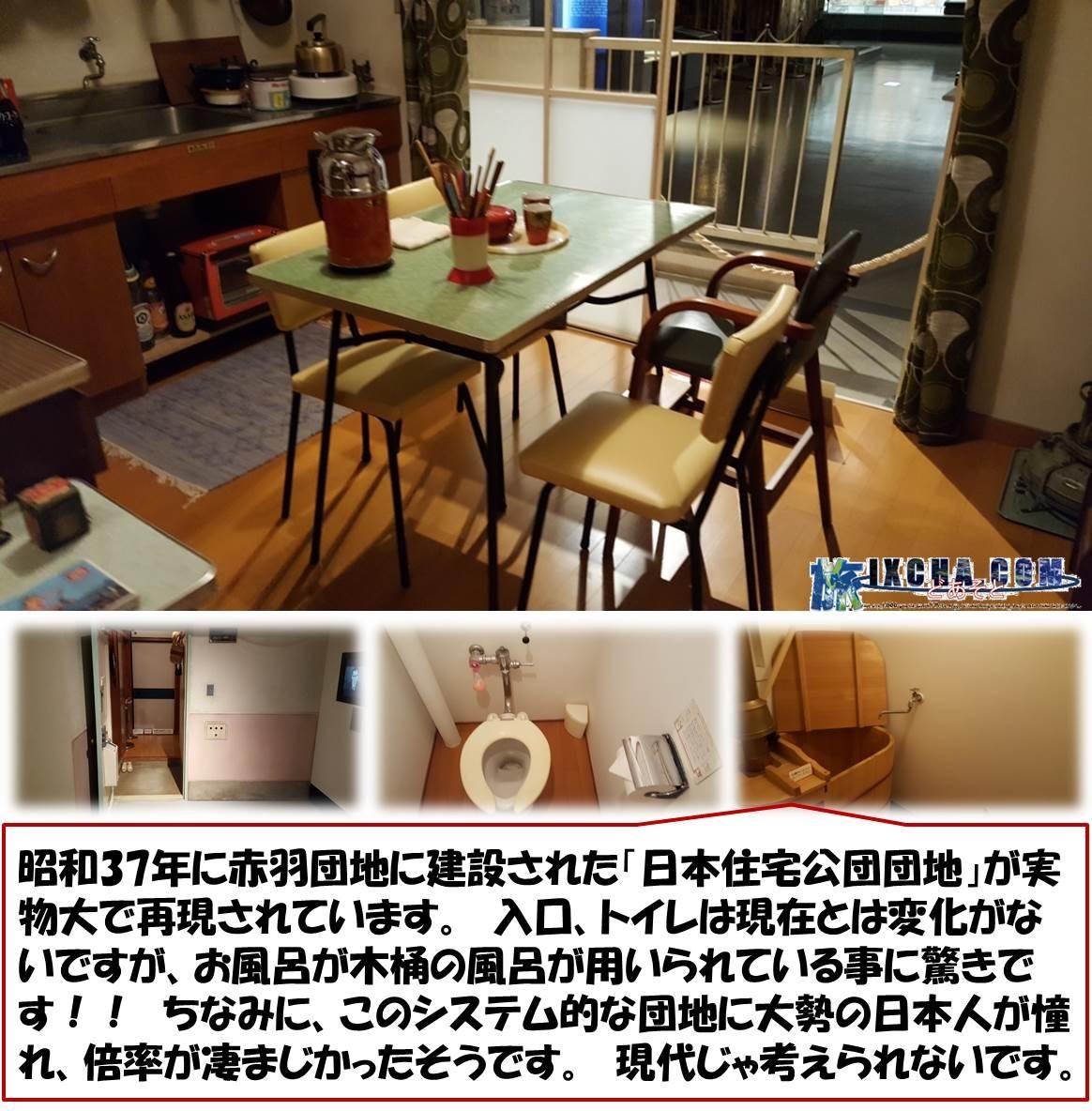 昭和37年に赤羽団地に建設された「日本住宅公団団地」が実物大で再現されています。 入口、トイレは現在とは変化がないですが、お風呂が木桶の風呂が用いられている事に驚きです!! ちなみに、このシステム的な団地に大勢の日本人が憧れ、倍率が凄まじかったそうです。 現代じゃ考えられないです。