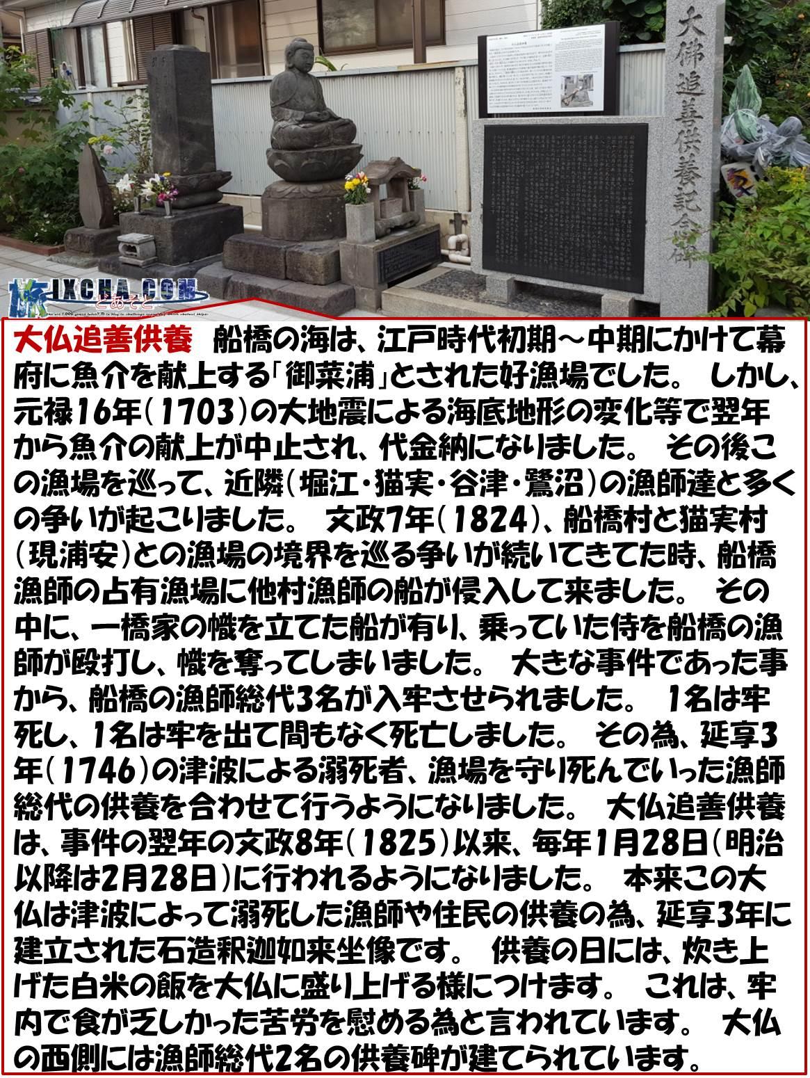 大仏追善供養 船橋の海は、江戸時代初期~中期にかけて幕府に魚介を献上する「御菜浦」とされた好漁場でした。 しかし、元禄16年(1703)の大地震による海底地形の変化等で翌年から魚介の献上が中止され、代金納になりました。 その後この漁場を巡って、近隣(堀江・猫実・谷津・鷺沼)の漁師達と多くの争いが起こりました。 文政7年(1824)、船橋村と猫実村(現浦安)との漁場の境界を巡る争いが続いてきてた時、船橋漁師の占有漁場に他村漁師の船が侵入して来ました。 その中に、一橋家の幟を立てた船が有り、乗っていた侍を船橋の漁師が殴打し、幟を奪ってしまいました。 大きな事件であった事から、船橋の漁師総代3名が入牢させられました。 1名は牢死し、1名は牢を出て間もなく死亡しました。 その為、延享3年(1746)の津波による溺死者、漁場を守り死んでいった漁師総代の供養を合わせて行うようになりました。 大仏追善供養は、事件の翌年の文政8年(1825)以来、毎年1月28日(明治以降は2月28日)に行われるようになりました。 本来この大仏は津波によって溺死した漁師や住民の供養の為、延享3年に建立された石造釈迦如来坐像です。 供養の日には、炊き上げた白米の飯を大仏に盛り上げる様につけます。 これは、牢内で食が乏しかった苦労を慰める為と言われています。 大仏の西側には漁師総代2名の供養碑が建てられています。