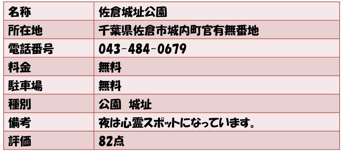 名称       佐倉城址公園 所在地       千葉県佐倉市城内町官有無番地 電話番号    043-484-0679 料金            無料  駐車場       無料 種別           公園 城址 備考              夜は心霊スポットになっています。 評価    82点