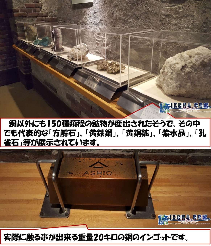 銅以外にも150種類程の鉱物が産出されたそうで、その中でも代表的な「方解石」、「黄鉄鋼」、「黄銅鉱」、「紫水晶」、「孔雀石」等が展示されています。 実際に触る事が出来る重量20キロの銅のインゴットです。