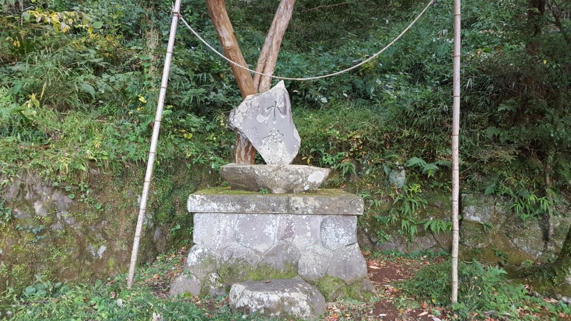 水神を祀る石碑には、大きな蜘蛛の巣が恐ろしげで近づけません。