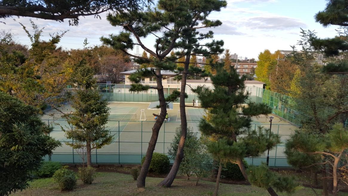 古墳頂上から見えるテニス場。 この古墳に埋葬された人もまさか千数百年後にまさか自分の墓が遊び場にされるとは思っていなかったでしょうね。
