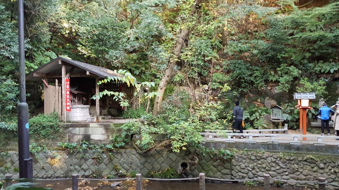 そして、「等々力不動尊」真下の滝がある場所までやってきました!ここまで結構いい散歩でした! 川の対岸には御堂が見えます。