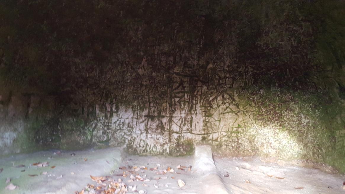 入り口は非常に狭いですが内部は子供なら秘密基地にも使えそうな空間が広がっていました。 最初に目に入ったのは壁に書かれた壁画??と思われたローマ字等が書かれた落書きです。 他の横穴墓も同様に心無いガキ共にこの様に落書きされており非常に残念です。 床面を見て頂くとベッドの様になっているのが見えます。 ここに遺体が寝かして安置されたんだと思われます。 恐らく身長150㎝程の人しか寝れない広さですので現代人から観ると狭く感じますが当時の人々の身長を考えるとゆったりと寝かされていたんだと思います。 穴の中は高さは無いですが、安置するのは死体ですので問題なしですね!