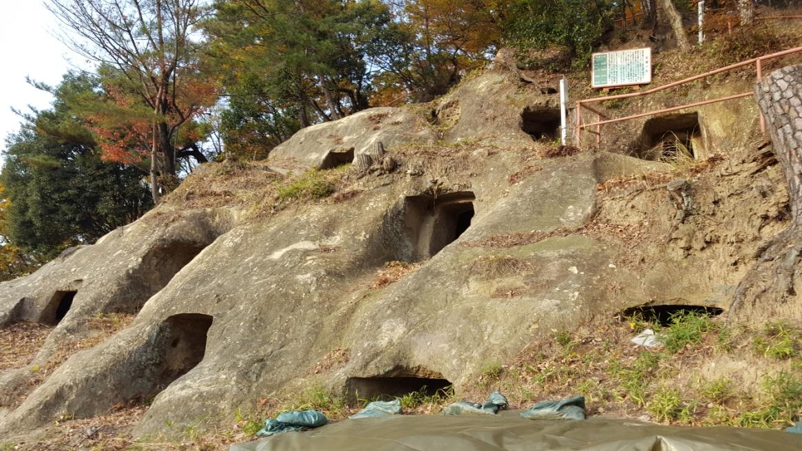 この「吉見百穴(よしみひゃくあな/よしみひゃっけつ)」は、古墳時代後期(6世紀-7世紀頃)に造られたものであり、岩山の表面を掘って造られた集合墳墓です。 空けられた穴の数は現在219個となっておりますが、先述の地下に軍需工場が作られた際に、十数個が破壊され無くなっているそうです。