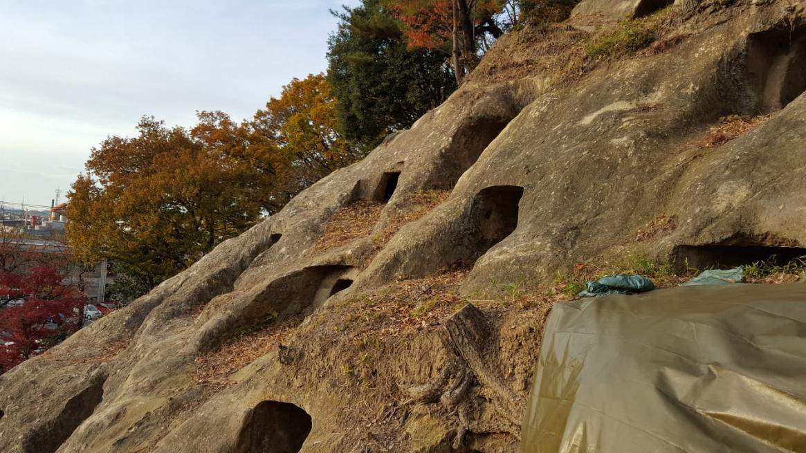 古墳時代に作られた墳墓だと「前方後円墳」の様なものが作られそうなイメージですが、考古学調査の結果によれば大化2年(646年)の薄葬令が出された時期と穴建設が行われた時期が重なるっており、大型墳墓が作れなくなった時代に、この様な墳墓が作られたと考えられています。