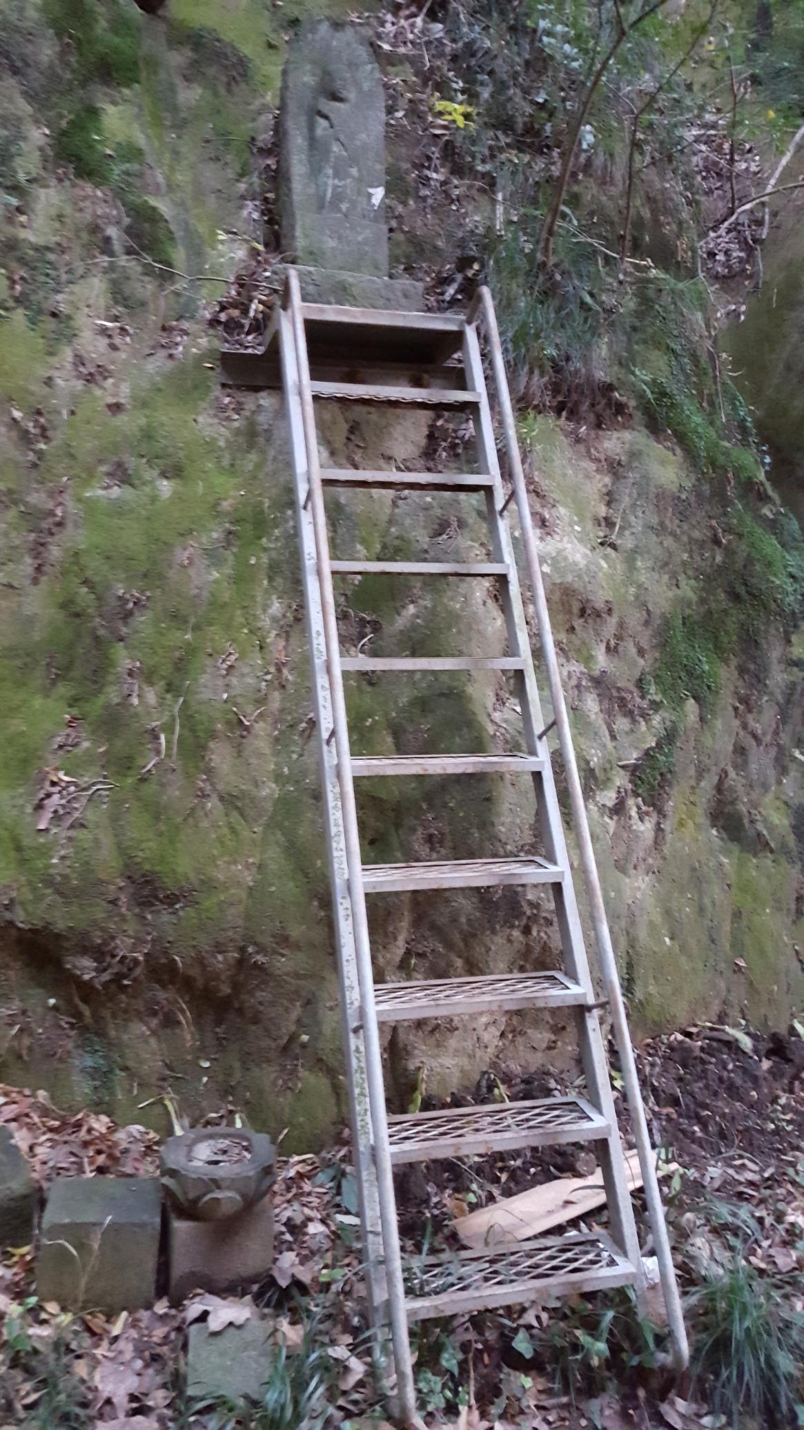 他にも、何故鉄梯子が置かれているのかは不明ですが、恐らく江戸時代頃の作と思われる石仏が崖に安置されておりました。