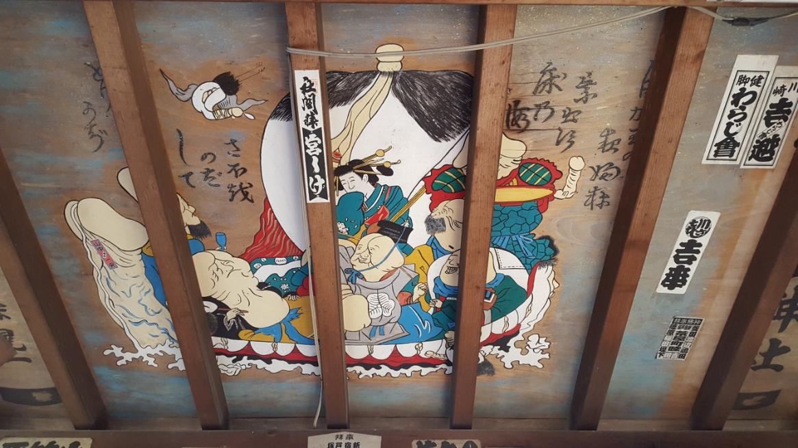 「絵馬殿」天井には、生々しく気持ち悪い性器をあしらった七福神の絵が描かれております。
