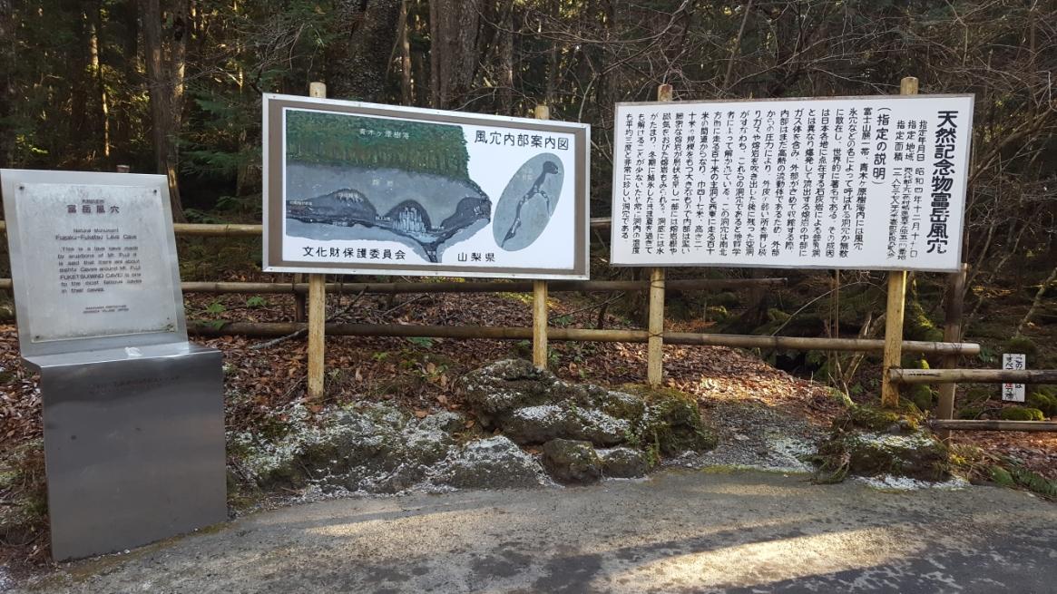 風穴への入り口前には、『富岳風穴』を解説する看板があります。 ここは一周15分程の洞窟の中には、いくつかの見所ポイントが有りますが、知らずにはいると見過ごすものもあるので読んでから入る事をお勧めします。