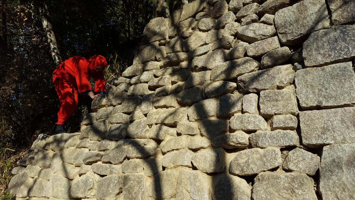 高所恐怖症の私は、登ったは良いが余りの高さに!と言いたいのですが、実は、ココ全然高くないんです!お子さんでも、一見高い石垣を登ったかのような写真が撮れる様になっております!