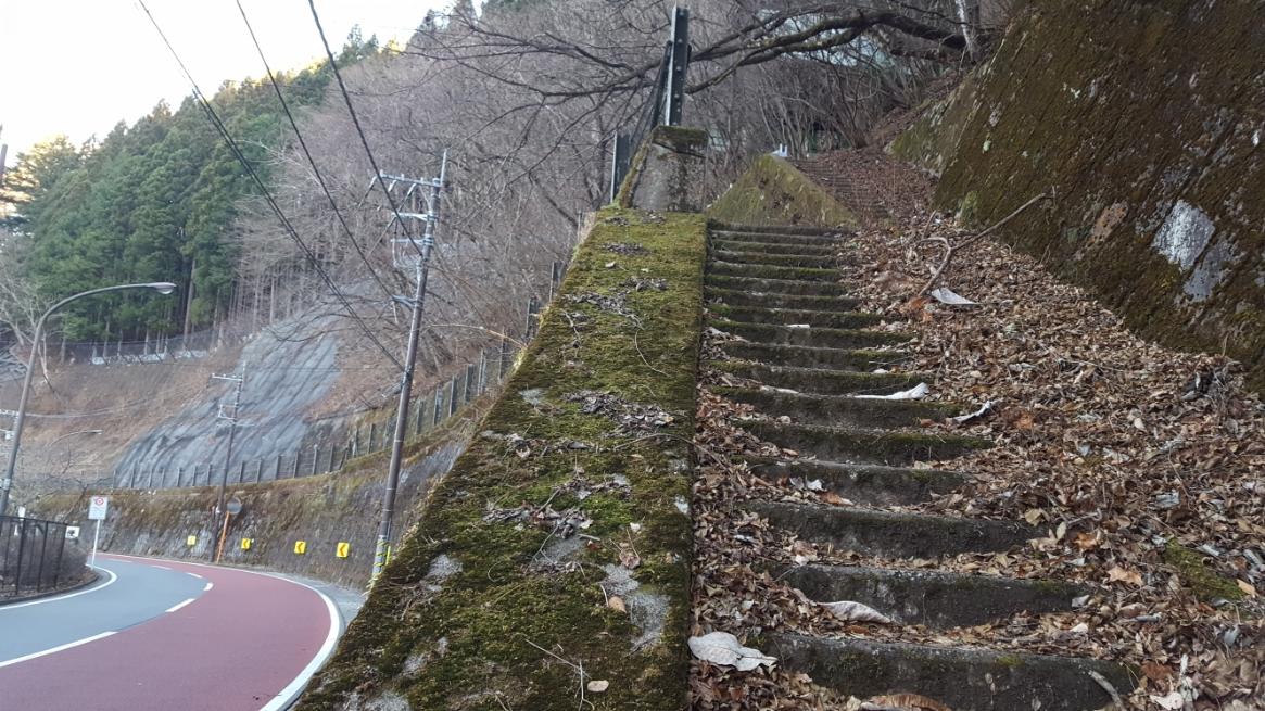 階段には制止線も無く、不法侵入を咎める張り紙も無い為、道道と入山です! 更に、コンクリートの石段を観ると直近にも踏み均されたであろう痕跡が見えるため、廃墟探訪の初心者でも大丈夫です!