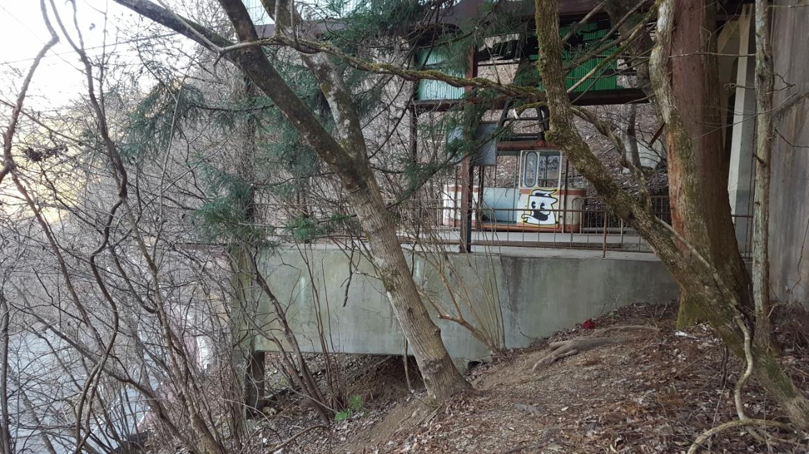 ようやく「三頭山口駅」の構内が見える位置に到着しました!中には観たかったゴンドラが半世紀を経って尚、宙に浮いているのが見えます!