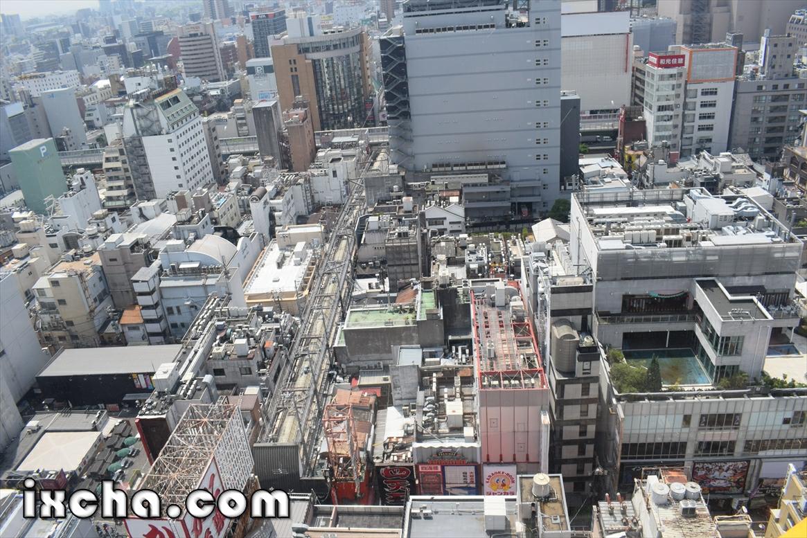 眼下に大阪の街並み